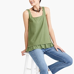 Square-neck tank top with woven hem