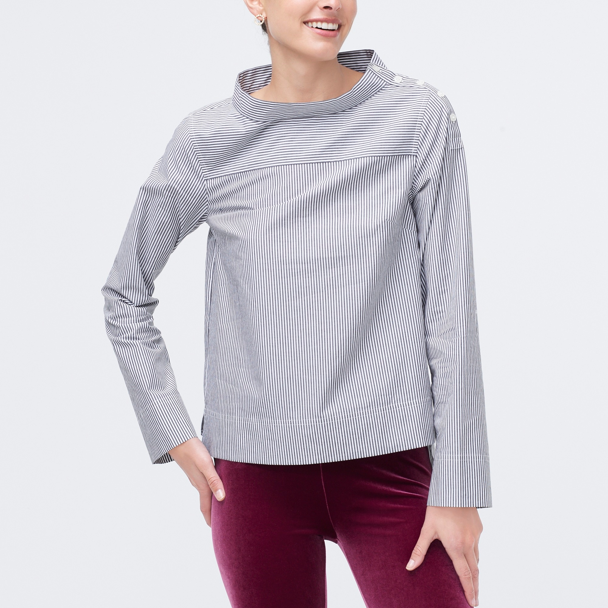 factory womens Striped funnelneck top in cotton poplin
